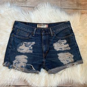 Levi's 505 Distressed High Rise Shorts